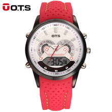OTS New Men Fashion Wristwatches Luxury Famous Brand Men's Leather PU Strap Watch Waterproof LED Digital Sports Watches