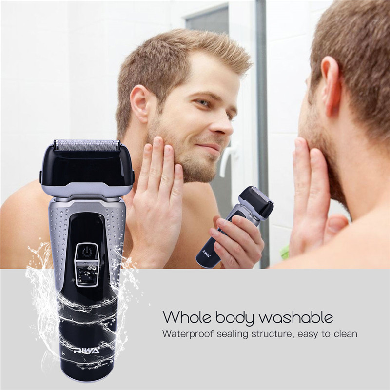 100-240V Rechargeable Electric Shaver Whole Body Washable Reciprocating Double Blade Shaving Razors Face Care Men Beard Trimmer<br>