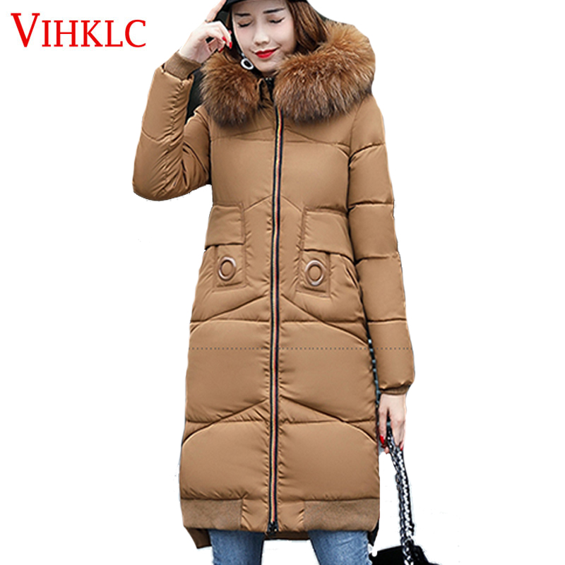 VIHKLC Winter Jacket Women 2017 Winter Wear High Quality Parkas Winter Jackets Outwear Women Mid Long Coats H199(China (Mainland))