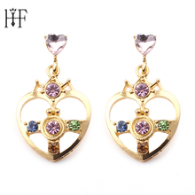 Gold Color with Blue Green Crystal Heart Shap Sailor Moon Stud Earrings Sailor Moon Earrings For Cosplay Kids Girls Freeshipping(China)