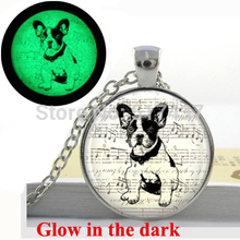 Glowing necklace pendant  French Bulldog Necklace Wearable Dog Jewelry , art photo Glow in the dark dog necklace
