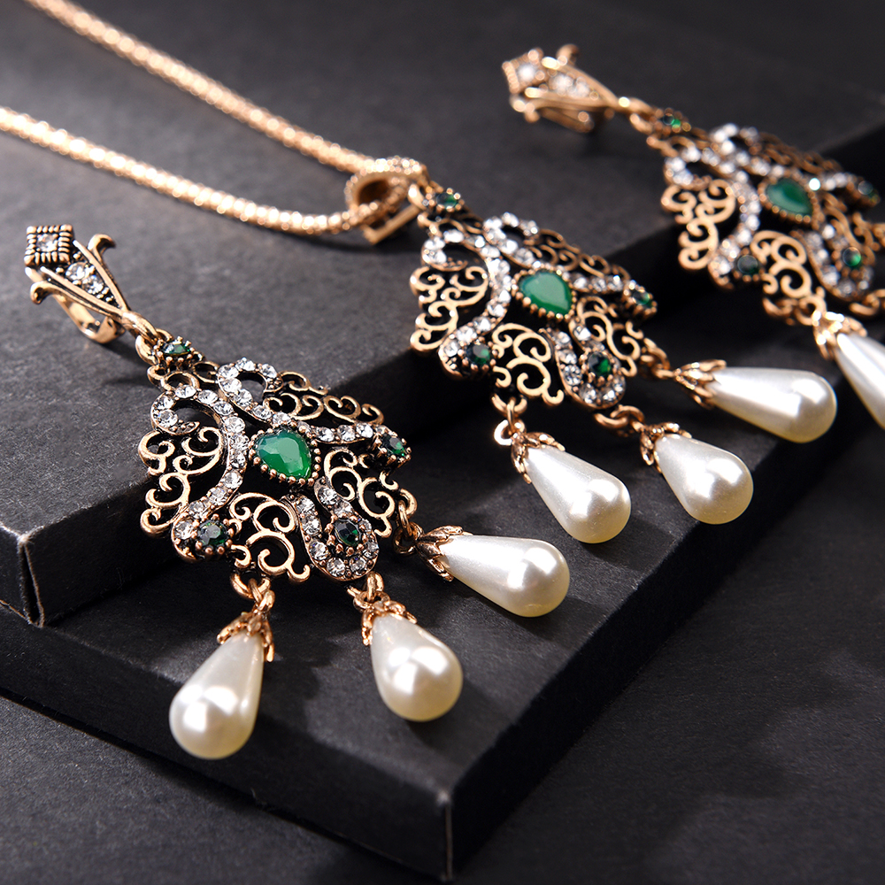 Drop Earring Necklace-Sets Ethnic Jewelry Crystal Pearls Wedding Vintage Women Flower title=