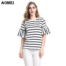 2017 Women Butterfly Sleeve Casual T Shirt Striped Black and White O Neck Summer Autumn T-shirt Woman Clothes Tee Shirts Tops(China)
