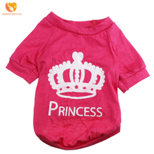 Casual Rose Crown Dog T-shirt Summer Cotton Breathable Pet Vest Puppy Cat Clothes Pets Products For Small Dogs DOGGYZSTYLE(China)