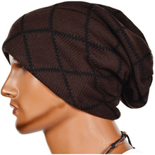 Warm Korean Style Knit Skull Caps Hats with Strip Rhombus Pattern Warm Beanie for Men Leisure