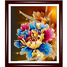 5D diy diamond Painting peony flower pictures diamond embroidery flower needlework 3D wall sticker home decor