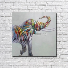 Free Shipping Hand-drawn Abstract Colourful Elephant Oil Painting On Canvas Pictures Art Painting Abstract Decoration No Framed