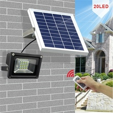 Remote Control Solar Flood Light 10W Outdoor Waterproof Dimmable Street Light for Garden/Yard/Patio/Swimming Pool/Barbeque