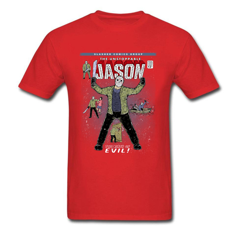 Gift T-Shirt Newest Round Neck The unstoppable Jason 100% Cotton Boy Tees Comics Short Sleeve T-shirts Drop Shipping The unstoppable Jason red