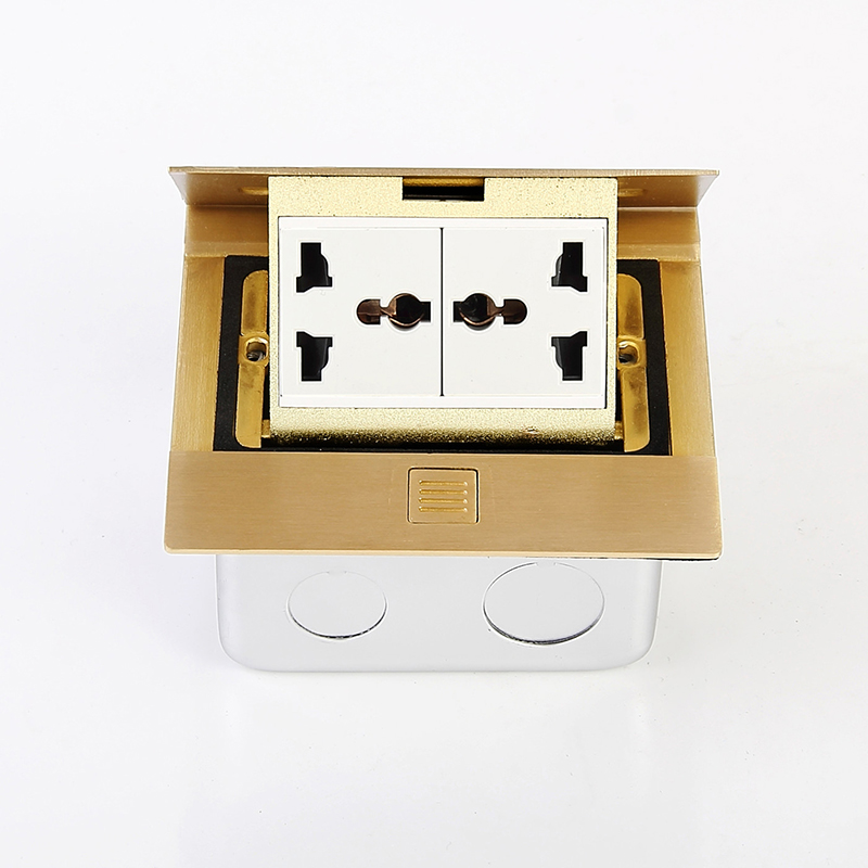 Brass Slow Pop Up Floor Socket Box with Double Universal sockets 220V 10A<br>