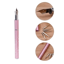 1 Set 13.8cm Nail Art Painting Drawing Line Pen + 5pcs Dotting Rhinestone Head DIY Tool Pink Color #3TL00091(China)