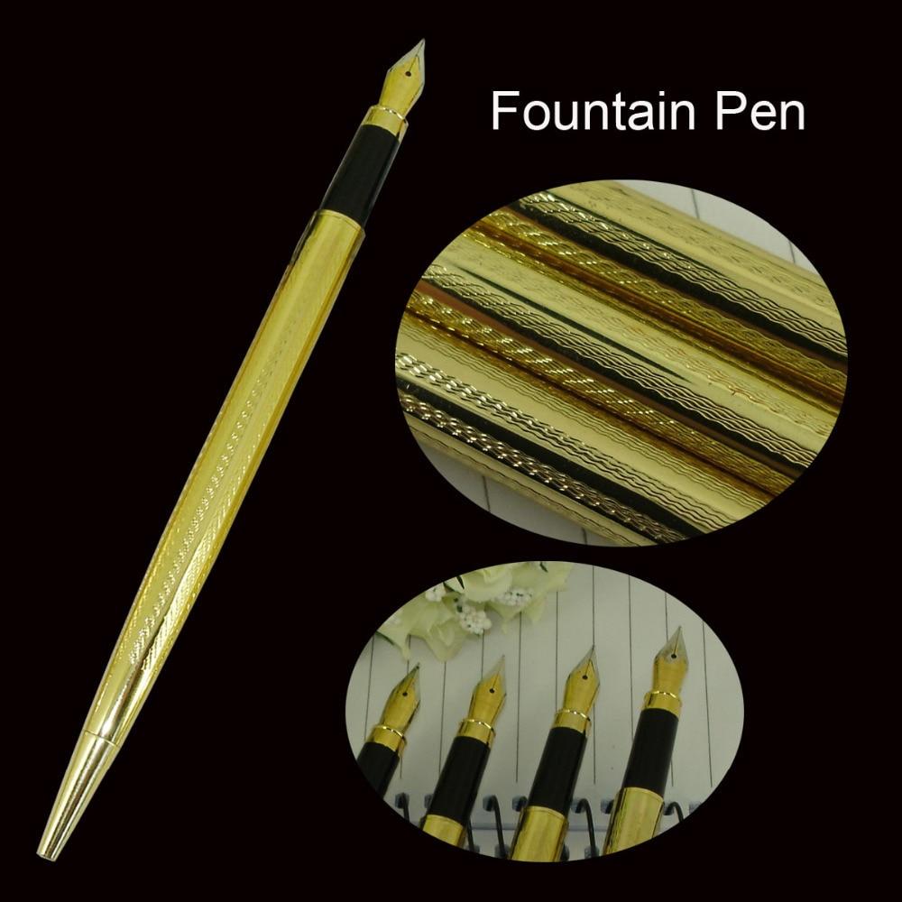 Fountain Pen Metal Computer Engraving Pattern Liquid ink Pen Thread Gold  Business Finance One-off Ink cartridge Liquid ink Pens