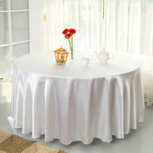 "DHL Free,5Pcs/lot 108"" Satin Table Cover White Black Round Tablecloth for Banquet Wedding Party Decoration(China)"