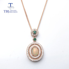 TBJ,100% natural opal & emerald gemstone pendant in 925 sterling silver rose color,fine jewelry for women with gift box(China)