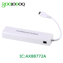 Micro USB 2.0 HUB to RJ45 Network Card LAN Adapter Ethernet 100Mbps With 3 Port USB2.0 HUB for Android tablets High Quality H15