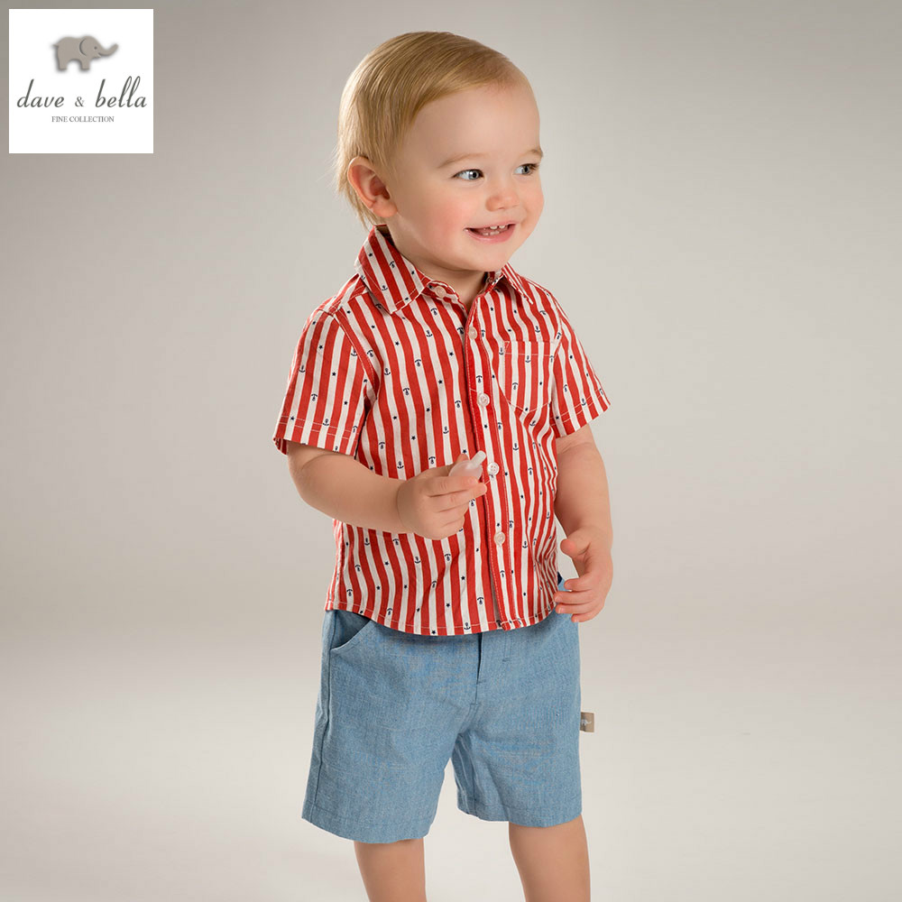 DB4563 dave bella summer baby boys clothing sets kids striped stylish clothing sets toddle cloth kids sets baby fancy clothes<br>