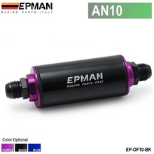 EPMAN -Aluminum High Flow Fuel Filter AN10 Black with 100 Micron Element Steel SS Universal High Pressure Performance EP-OF10-BK(China)