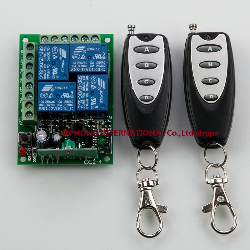 DC12V 4CH Remote Control Switch Automatic Door Operators Receiver 2 Transmitter Learning code Momentary Toggle Latched 315MHZ<br><br>Aliexpress