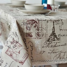 Free shipping rustic Linen vintage tablecloth with lace for home Eiffel Tower 140*180cm(China)