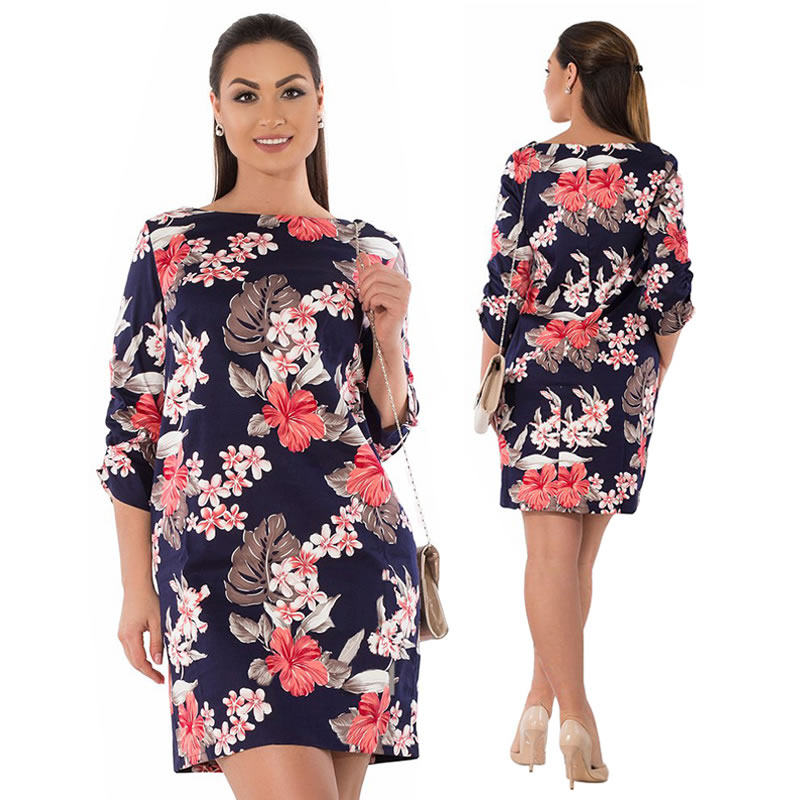 2018 Summer Dress Plus Size Women Clothing Elegant Floral Printed Dress Big Size Office Work Dress 5XL 6XL Party Dress Vestidos 14