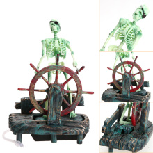 DIY Landscape Skeleton on Wheel Action Air Skeleton Captain Aquarium Decoration Ornament Fish Tank Decor Accessories