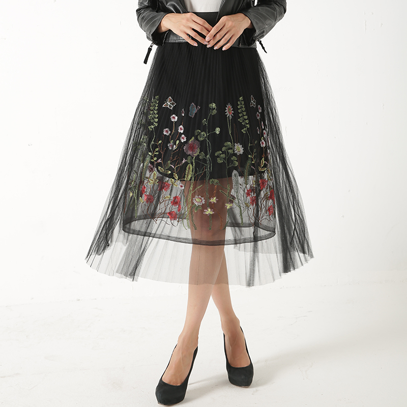 2018 New Puff Women Mesh Tulle long Skirt Fashion Vintage Pleated Floral  Embroidery Elegant Female Tutu Mid-Calf Skirts  bb54193e46c