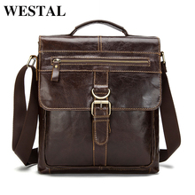 WESTAL Genuine Leather bag Men leather Bags Messenger Bag laptop Male Man Casual tote Shoulder Crossbody bags Handbags 1292