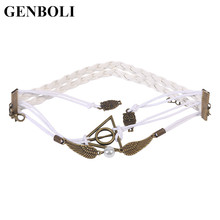 GENBOLI Special Deathly Hallows Wings Hand Woven Leather Rope Owl Wing Imitation Pearl Personalized Bracelet fashion jewelry