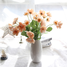Artificial silk poppies flowers 2 Heads Fake Leaf Silk Poppy flower for Wedding Party Home Festival Decoration(China)