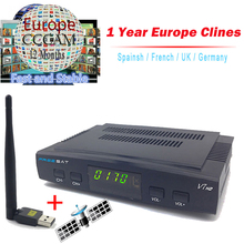 1 Year Clines Server Freesat V7 Satellite Receiver + Usb WiFi Spport DVB-S2 clines PowerVu YouTube Full 1080P HD Europe Spain(China)