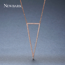 NEWBARK Fashion Chains China Necklace for Women Trendy Populary Rose Gold Color Crystals Triangle Cubic Zirconia For Wife(China)