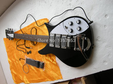 Factory custom shop 2017 Newest Rick 325 Black Electric Guitar 3 Humbucker pickups, Bigsby Tremolo High Quality Free shipping 85