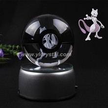 Nice Fashion Mewtwo Pokemon Engraving Round Crystal With Black Line Ball With LED Base With Gift Box