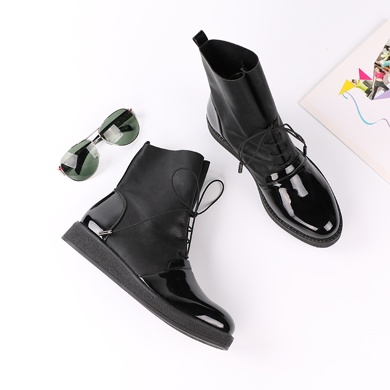 AIMEIGAO Fashion Spring Autumn Women Boots Patent PU Leather Platform Woman Shoes Plus Size Boots For Women Botas Mujer (18)