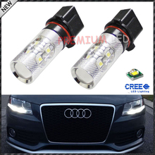 2x No Errors Xenon White 50W P13W CRE'E LED Bulbs DRL For 2008-12 Audi B8 model A4 or S4 with halogen headlight trims