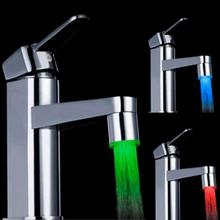 2016 New Fashion LED Water Faucet Stream Light 7 Colors Changing Glow Shower Tap Head Kitchen Temperature Sensor hot selling(China)