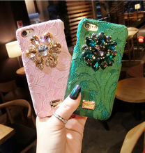 Italy Luxury Diamond Flower Lace Hard Phone Case for iphone 6 6s 6plus 7 7plus Back cover Rainbow Crystal PC Rhinestone Capa
