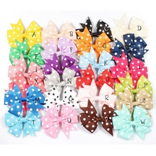 "30pcs/lot 3"" 24colors Dovetail Grosgrain Dot Ribbon Hair Bows Clips For Girls Organza Heads Bow For Toddle Hair Accessories"