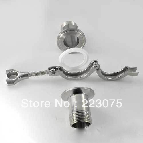 Free shipping 1.5 SS304 TRI-CLAMP ASSEMBLY (2xSanitary NPT male Pipe Fitting + 1xclamp + 1xgasket) Tube fitting<br>