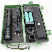 Zoomable Torches 6800lm xml-T6 L2 led Bike flashlight Zoom Torch Lighting Lamp light +2x 18650 Battery + Charger+ Bike clip+Bag