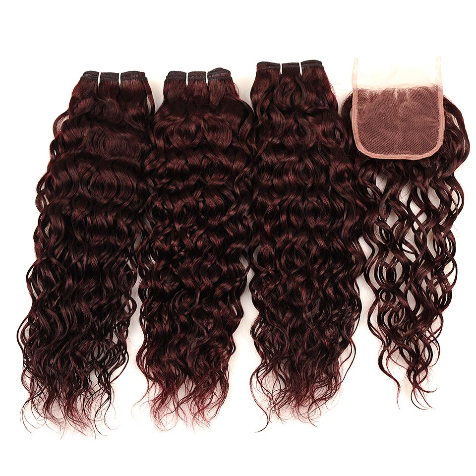 Pinshair Burgundy Brazilian Hair Weave Bundles With Closure Red 4 Pcs Water Wave Human Hair 3 Bundles With Lace Closure Non Remy (136)