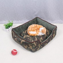 Trendy Soft Warm Pet Nest Cats Bed Jungle Camouflage Sofa Dog Bed House Cheap  Cozy Rectangle Puppy Teddy Square Pet Bed