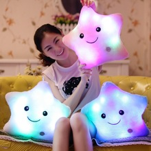 Promotion Colorful Star Pillows Led Light Luminous Pillow Soft Kawaii Plush light Pillow Cushion Stuffed Doll Kids Toys Gifts