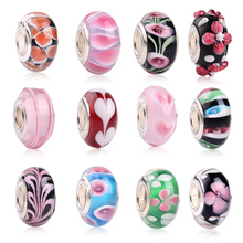 1pc Lampwork Glass Flower Glass Beads Fit Pandora Style Bracelet & bangle DIY jewelry Silver Plated Charms Wholesale Accessories(China)