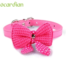 Ocardian Knit Bowknot Adjustable PU Leather Dog Puppy Pet Collars Necklace Dog Collars