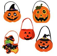 Halloween Pumpkin Candy Bag Trick Treat Cute Smile Basket Face Children Gift Handhold Pouch Tote Bag Non-woven Pail Props(China)