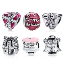 2017 NEW S925 Sterling Silver Bead Celebration Birthday Cake Gift Box Anniversary Charm Pendant Fit Pandora Bracelets & Bangles(China)