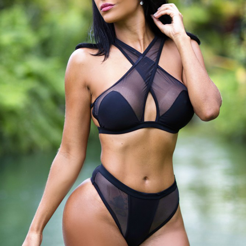 black bikini women 2017 high cut out swimwear solid mesh bikini set sexy biquini high waist swimsuit sexy bathing suit<br><br>Aliexpress