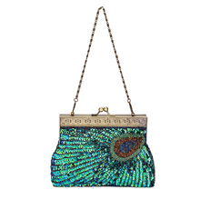 Sequins Beaded Evening Bag Wedding Bridal Party Prom Clutches Peacock Handbag
