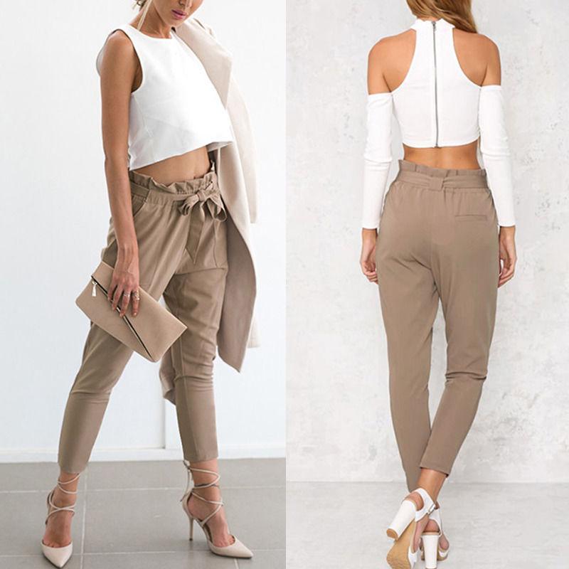 Hot Women High Waist Elastic Harem Pants Chiffon Office Lady Solid Pencil Trouser (Us 4-14)